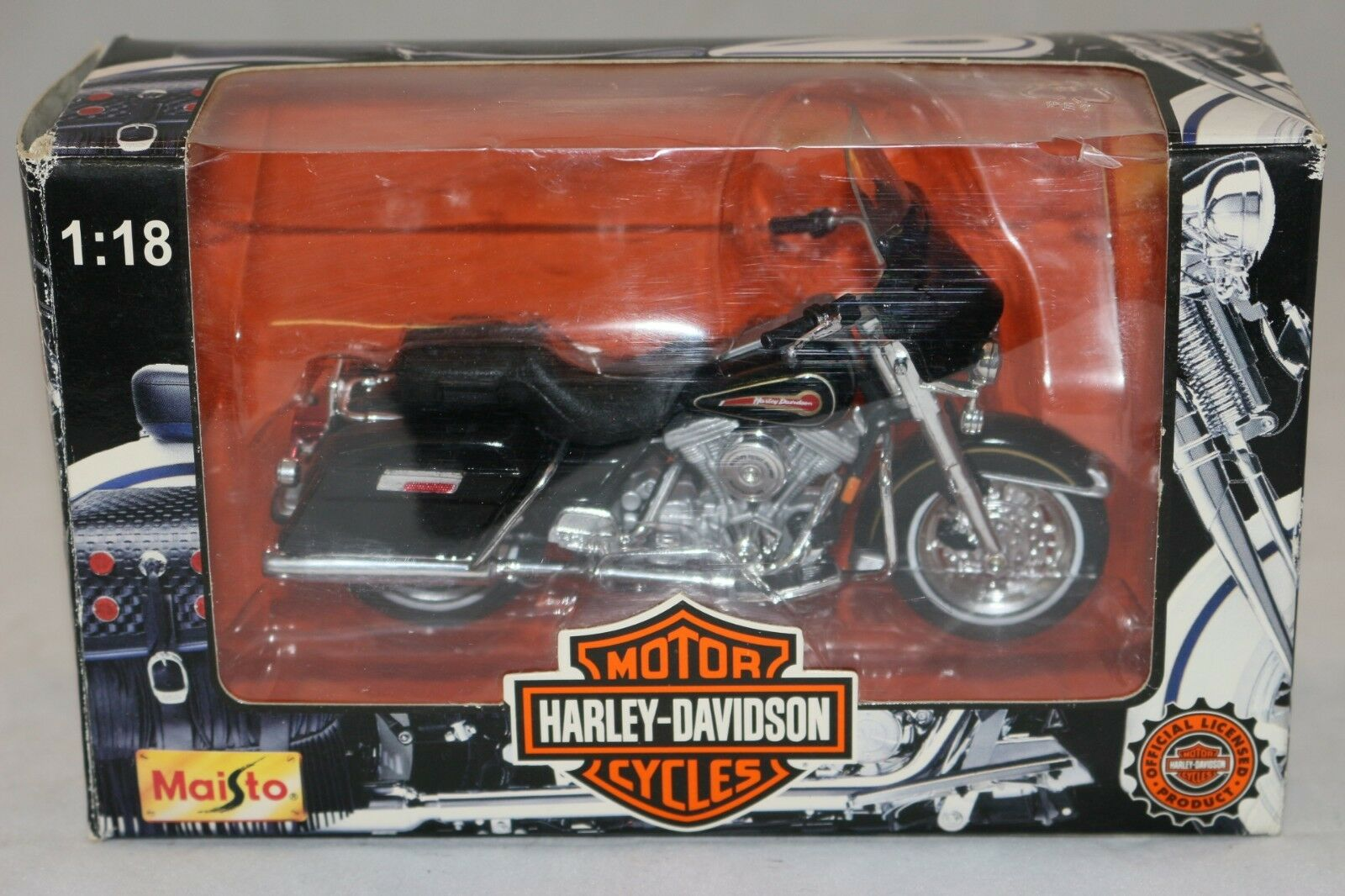 MAISTO moto 1 18 HARLEY-DAVIDSON FLHT ELECTRA GLIDE STANDARD + boite ,état neuf