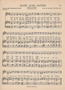 "MARQUETTE UNIVERSITY Vtg Song Sheet c 1938 /""Hail Alma Mater/"" Original"
