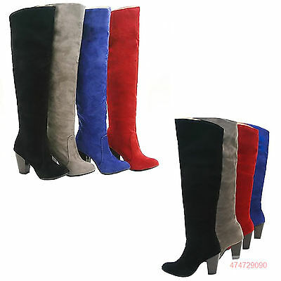 Women's Classic Faux Suede Boots Thick High Heel Knee High Shoes US Size Slip-on
