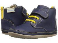Robeez Shoes Mini Shoez Nick Boot Navy Blue Yellow Bootie Hi Top 3-6m 2