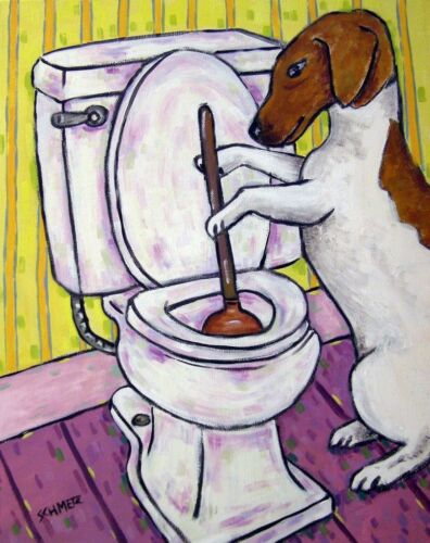 JACK RUSSELL TERRIER bathroom 11x14  art PRINT dog animals impressionism