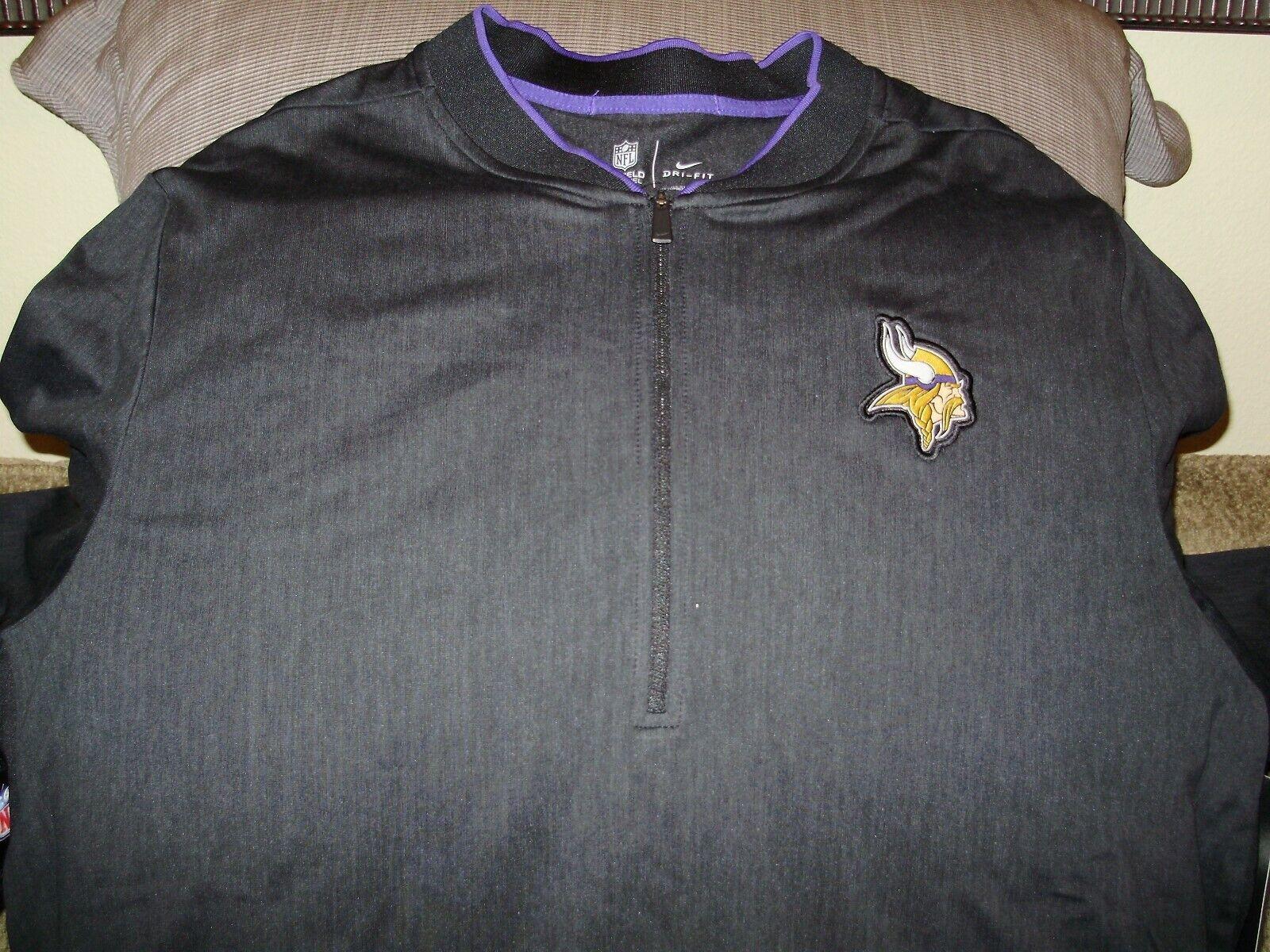 b368bdf0 NFL Minnesota Vikings Nike Dri-fit Black Coaches 1/2 Zip Golf Jacket ...