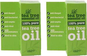 100 % Pure Tea Tree Essential Oil 10ml x2 TWIN PACK- Melaleuca Alternifolia