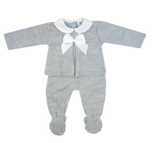 Baby Boys Girls Spanish Style Grey White Bow Knitted Jumper /& Trousers Set