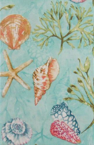 Seashells and Seaweed in the Sea Vinyl Flannel Back Tablecloth-Various Sizes