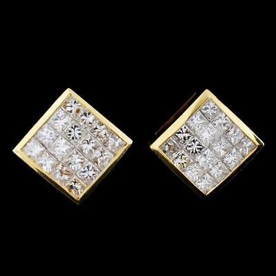 1. 18K Yellow Gold 2.82ct Diamond Earrings Lot 1