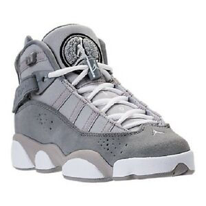 5fd80bcad5c3b7 Youth Nike Air Jordan 6 Rings GS Basketball Shoes Silver White-Grey ...