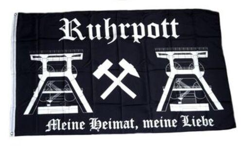 """neu RUHRPOTT Flagge Fahne /""""MEINE HEIMAT/"""" Fan Block Ultra 100/% Polyester"""