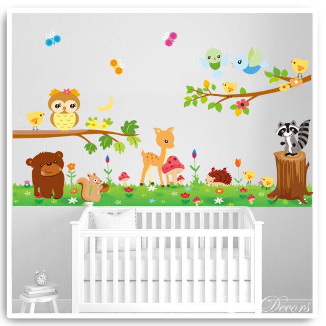 owl wall stickers woodland animal bambi jungle tree nursery baby