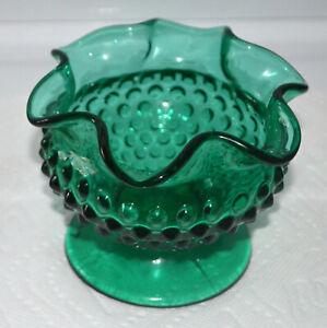 Vintage-Fenton-Forest-Green-Hobnail-Ruffled-Top-Vase-Marked-OVG