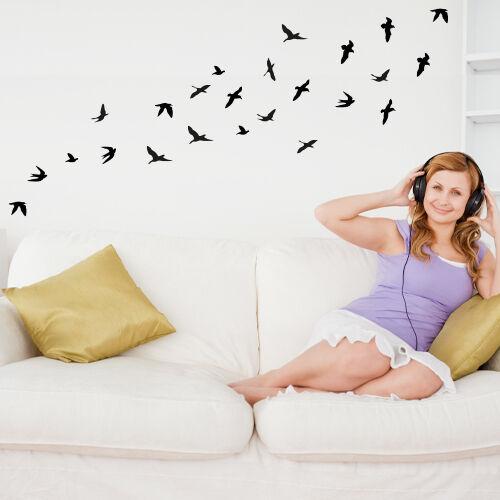 Wandtattoo Vogelschwarm Vögel Wandsticker Wandaufkleber Wanddekoration