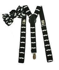 Black Suspenders & BowTie Set With White Mustache Adjustable Suspender Combo