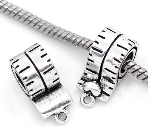 Antiqued Silver 19mm Tape Measure Traditional Charm or Large 5mm Hole Charm Bead