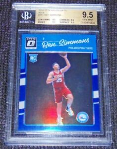 BEN-SIMMONS-16-17-DONRUSS-OPTIC-BLUE-PRIZM-HOLO-ROOKIE-RC-SSP-ROY-47-49-BGS-9-5