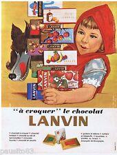 PUBLICITE ADVERTISING 105  1966  les chocolats LANVIN