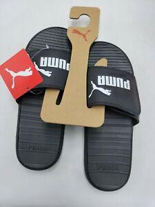 Puma Men's Slides Size 10 Black Adjustable Sandals Cool Cat V New with Tags