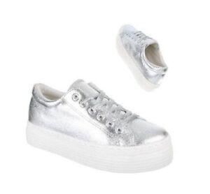 Dettagli su Sneakers donna scarpe sportive passeggio zeppa alta oro e argento