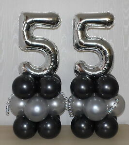 Image Is Loading 55th BIRTHDAY AGE 55 SILVER PARTY FOIL BALLOON