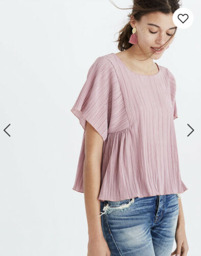Madewell Micropleat Top Size Small Short Sleeve Du