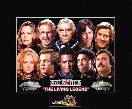"""1978 BattleStar Galactica /""""LIVING LEGEND/"""" Cast 8/""""x10/"""" Photo-11/""""x14/"""" Black Matted"""