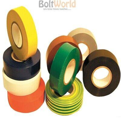 10x ROLLS BLACK ELECTRICAL PVC INSULATION INSULATING TAPE 18mm x 25m EU MADE