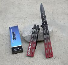 "Large 10.75"" Black and Red Mock Butterfly Spring Assisted Folding Pocket Knife"
