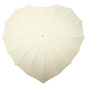3b131d3fd018 UV Ivory Love Heart Shaped Walking Umbrella for Bridal   Wedding and ...