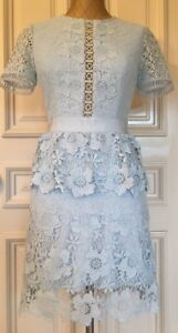 Details About Ted Baker Dixa Layered Lace Skater Dress Size 4 Usa 10 Color Baby Blue Brand New