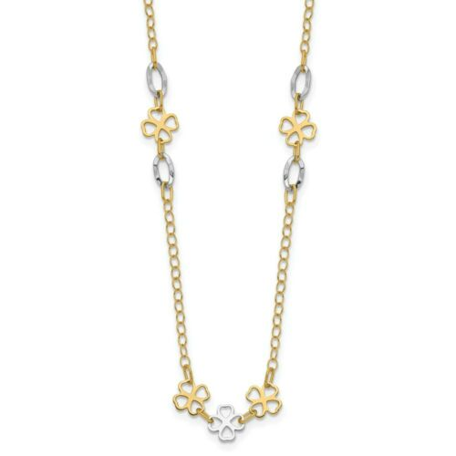 Details about  /Real 14kt Two-tone Diamond-cut Polished Flower Necklace; 17 inch; Lobster Clasp