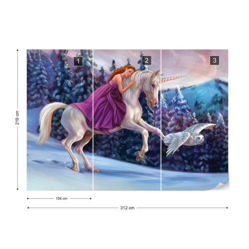 Princess Unicorn Photo Wallpaper Wall Mural Fleece Easy-Install Paper