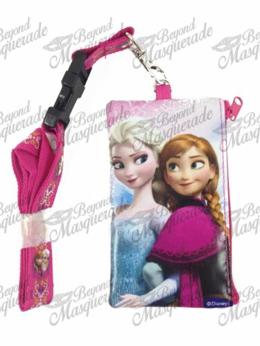 Hot Pink Disney Frozen Key Chain Lanyard ID Holder Detachable Coin Purse