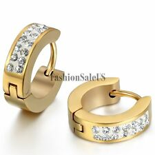 2pcs Men's Women's 4mm Stainless Steel Shining Rhinestone Huggie Hoop Earrings