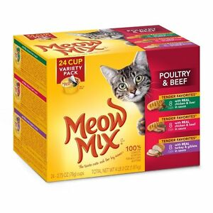 Soft Cat Food >> Meow Mix Canned Wet Soft Cat Food Variety Pack 2 75 Oz Cans 24