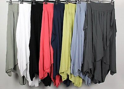 NUOVI Sandali Donna Italiana Lagenlook Plain 100/% Lino Pantaloni MADE IN ITALY