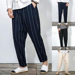 Men-Vintage-Harem-Jogger-Pants-StripLoose-Baggy-Casual-Dance-Slim-Fit-Trousers