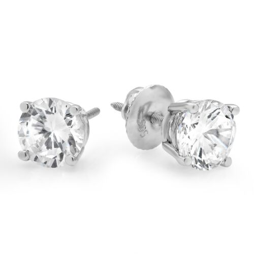 4ct Round Cut Stud Solitaire Earrings Gift Solid 14k White Gold Screw Back