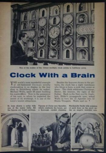 German Novelty Clock Heidelberg 1957 pictorial Michael Waltz