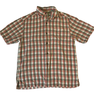 Tommy-Bahama-100-Silk-Red-Green-Plaid-Short-Sleeve-Shirt-Men-039-s-Size-S