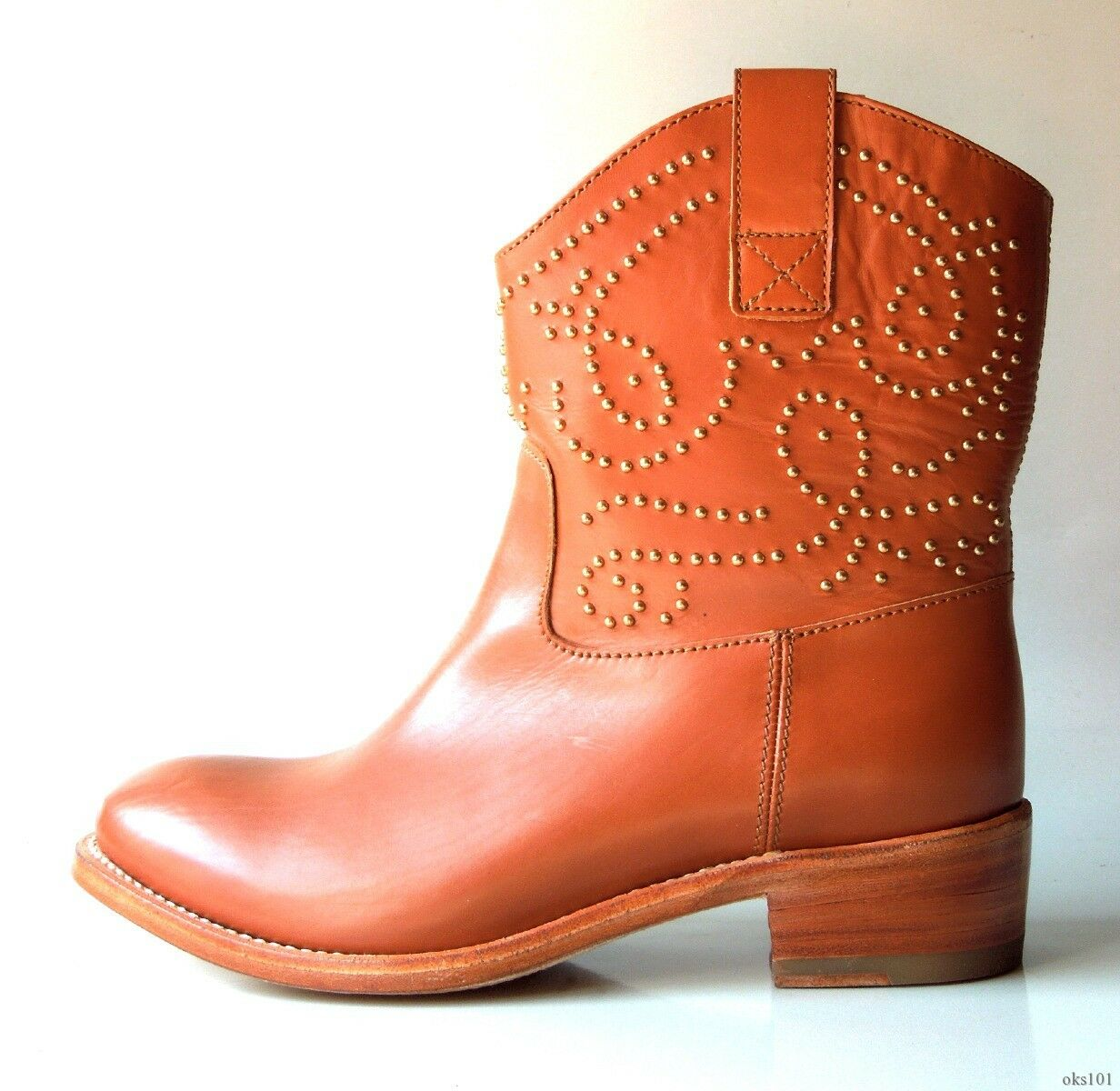 New  985 SERGIO ROSSI braun leather STUDDED cowboy ANKLE Stiefel 37 7 - gorgeous