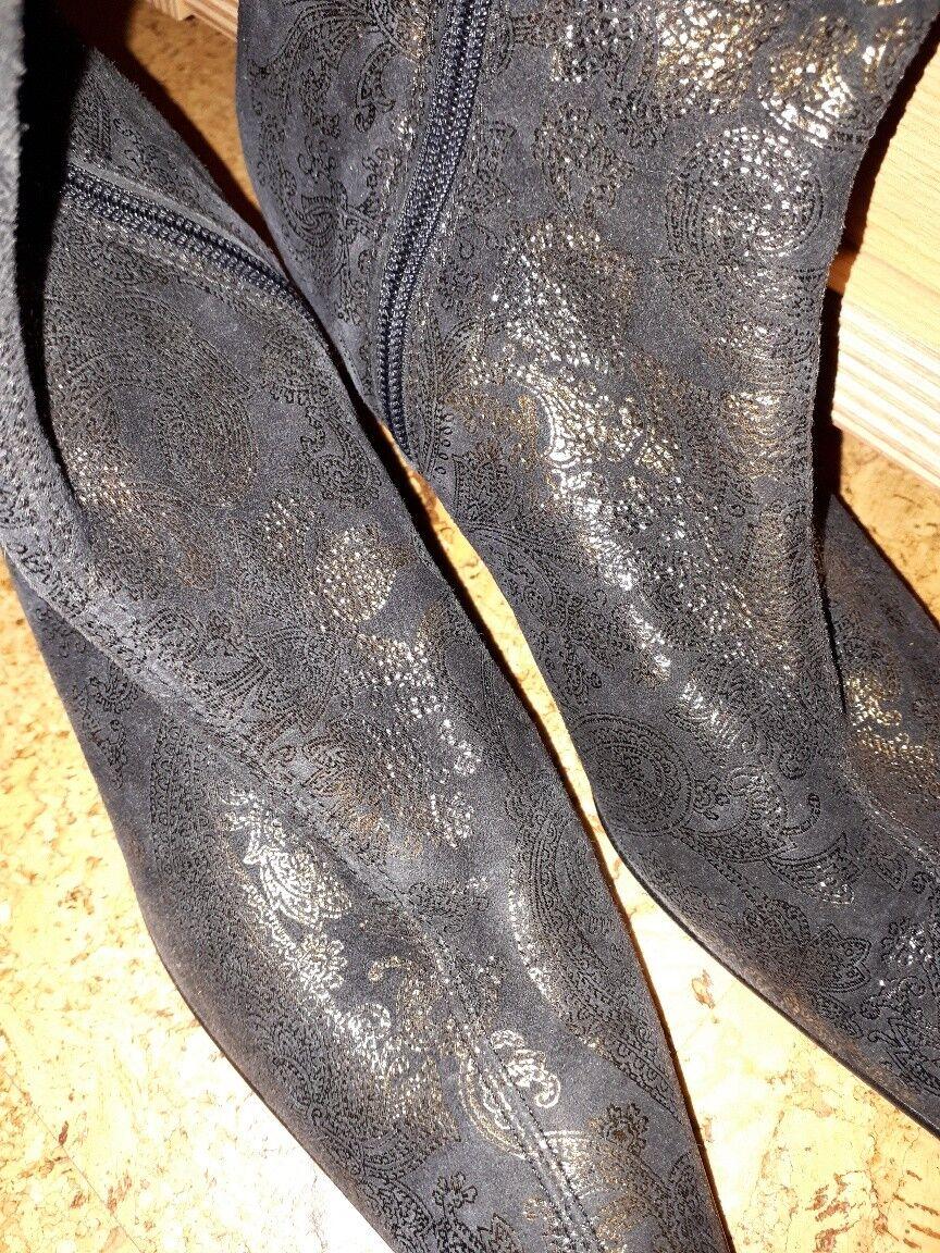 Original Brunella botines de cuero en negro con dorado brillo