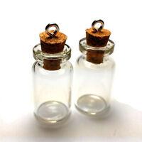 Mini Corked Glass Bottles Vials Charm Kit For Pendants Earrings 1 Inch 10-pack