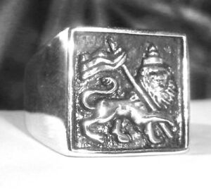 Men-039-s-Lion-Of-Judah-Ring-Heavy-Sterling-Silver-Flag-of-Ethiopia-Rasta-Jewelry