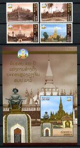 Prix Pas Cher Laos Lao 2010 Vientiane H. Architecture Stupas History 2174-77 Bloc 225 Neuf Sans Charnière Belle Qualité