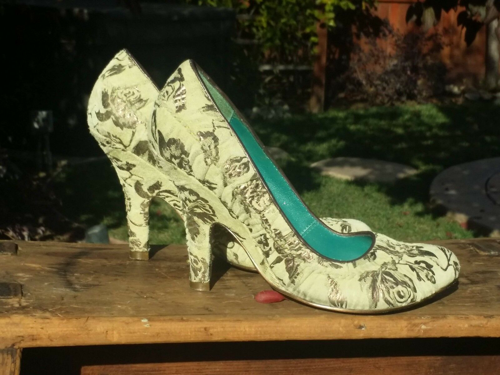 Irregular choice Größe 3 - 36 36 36  schuhe Suede green embossed gold flowers c8547f