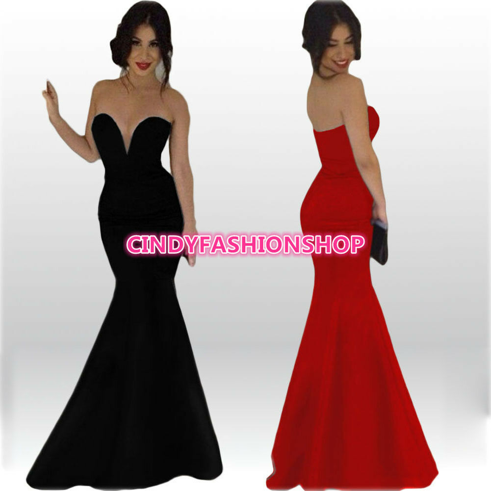 Women Sexy Slim Strapless Prom Gown Mermaid Party Evening Cocktail Long Dress