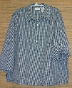 Liz-Claiborne-Woman-Plus-Size-16W-Black-Gingham-Pullover-Top-Shirt-Bust-44-46-034