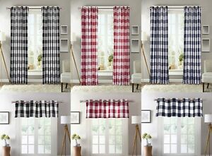 2-PC-Plaid-Courtyard-Buffalo-Checker-Grommet-Window-Curtain-Panels-or-1-Valance