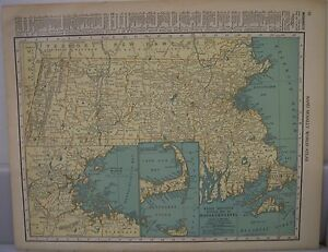 Frameable World Map.Antique 1929 Large Map Of Massachusetts Collectible Frameable State