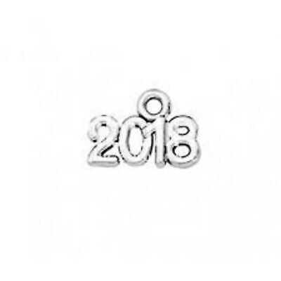 lot de 10 breloques charm pendentif perle scrapbooking année 2018 NEUF