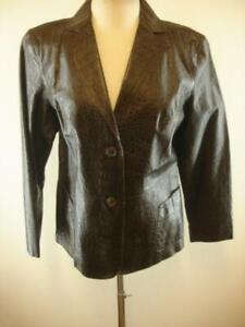 Womens-L-Preston-amp-York-Brown-Alligator-Print-Leather-Jacket-Blazer-Sport-Coat